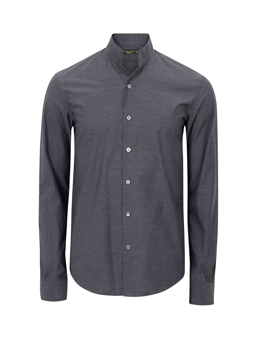 Cotton Melange Officer Collar Shirt (Slim Fit)
