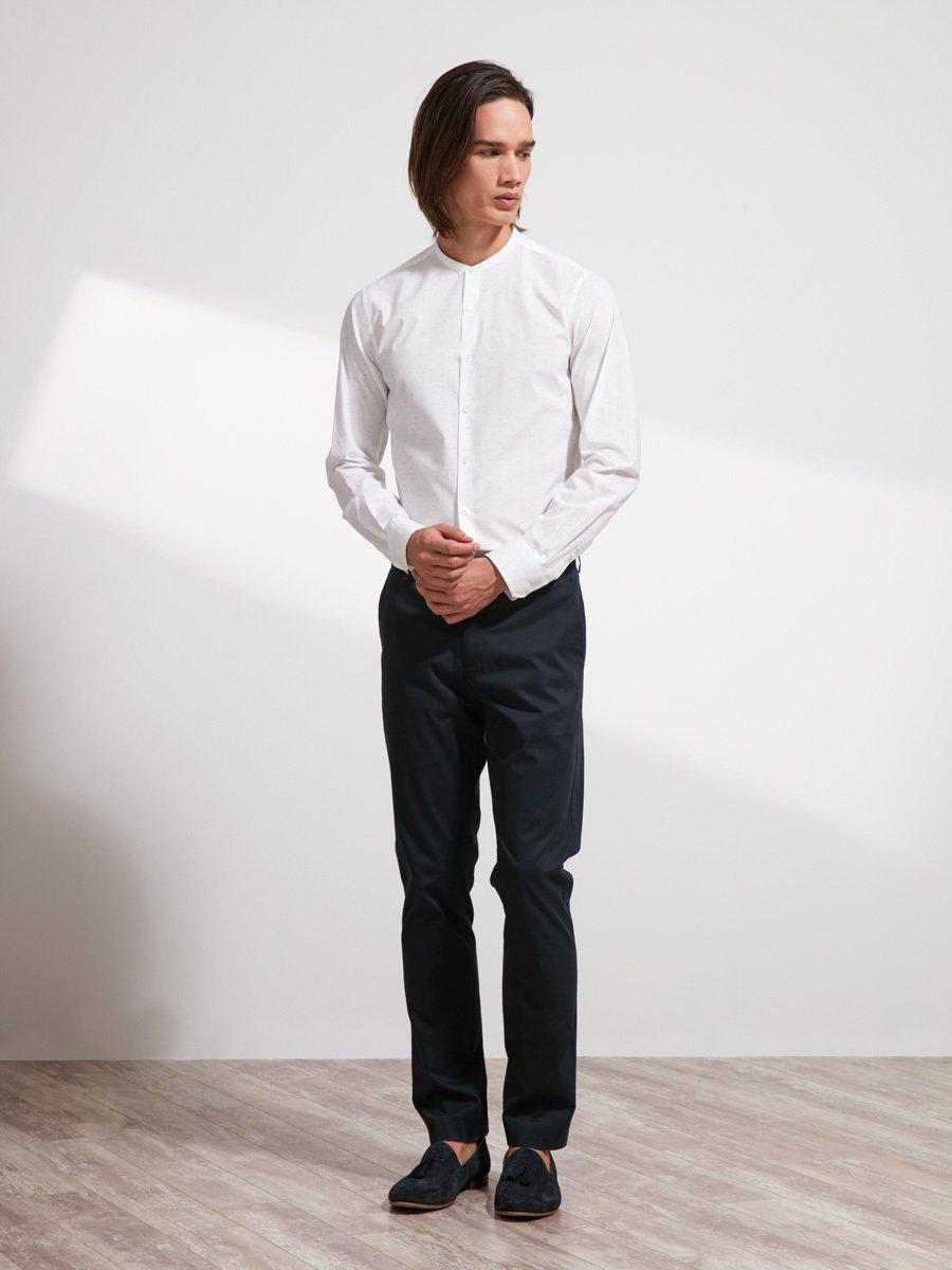 Printed Mini Mandarin Collar Shirt (Slim Fit)