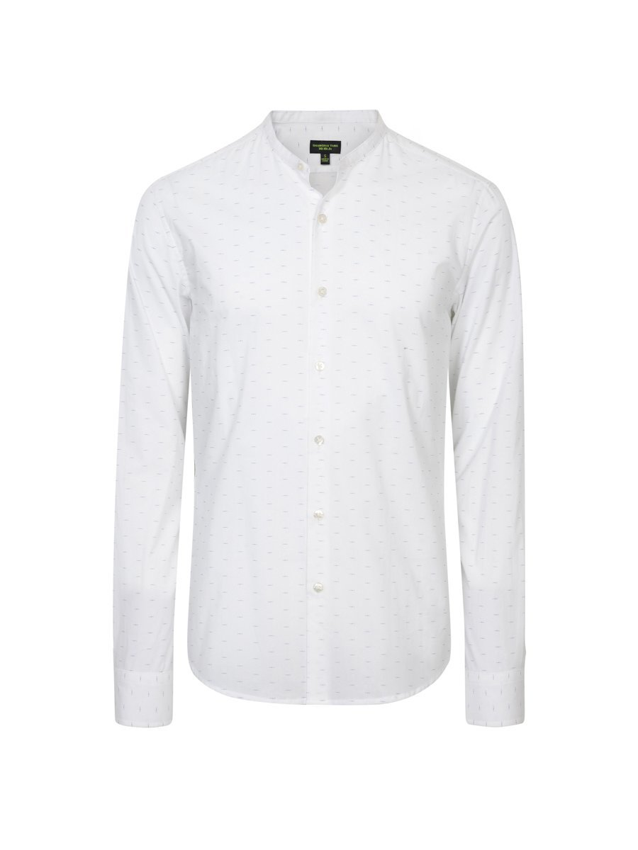Printed Mini Mandarin Collar Shirt (Slim Fit)