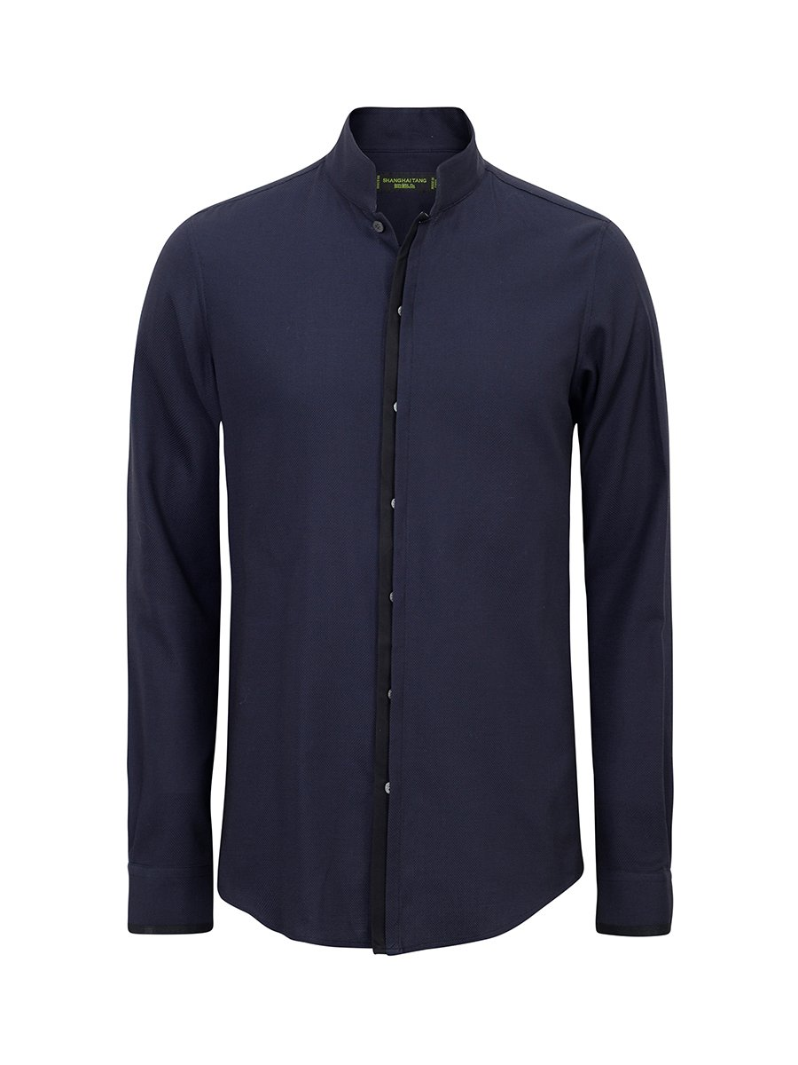 Cotton Pique Modern Mandarin Collar Shirt (Slim Fit)