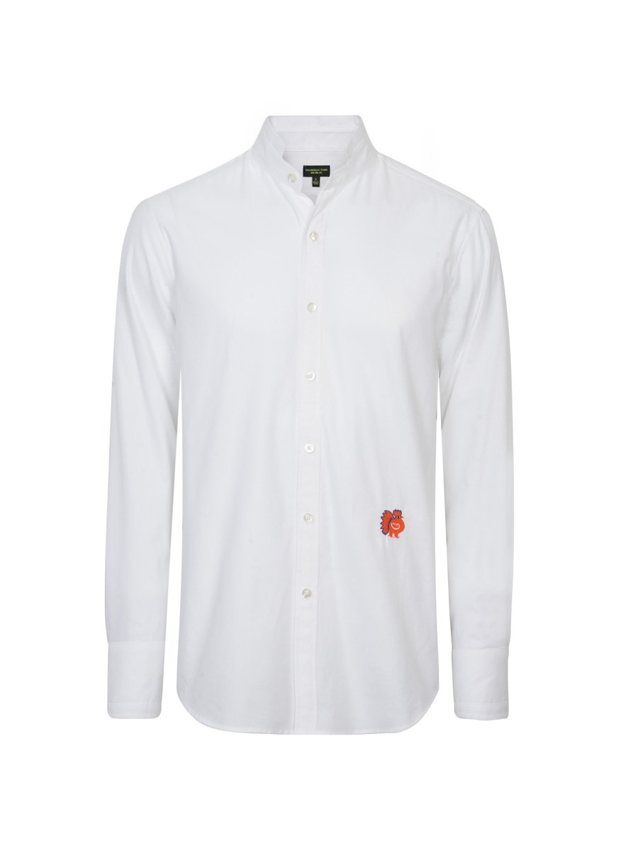 Cotton Tip Collar Shirt with Rooster Embroidery