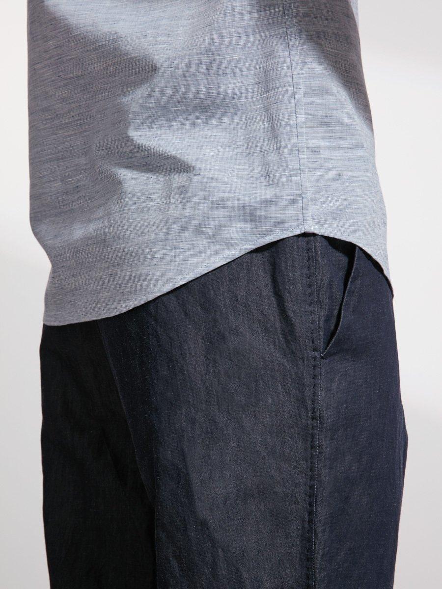 Linen-Cotton Single Button Collar Shirt