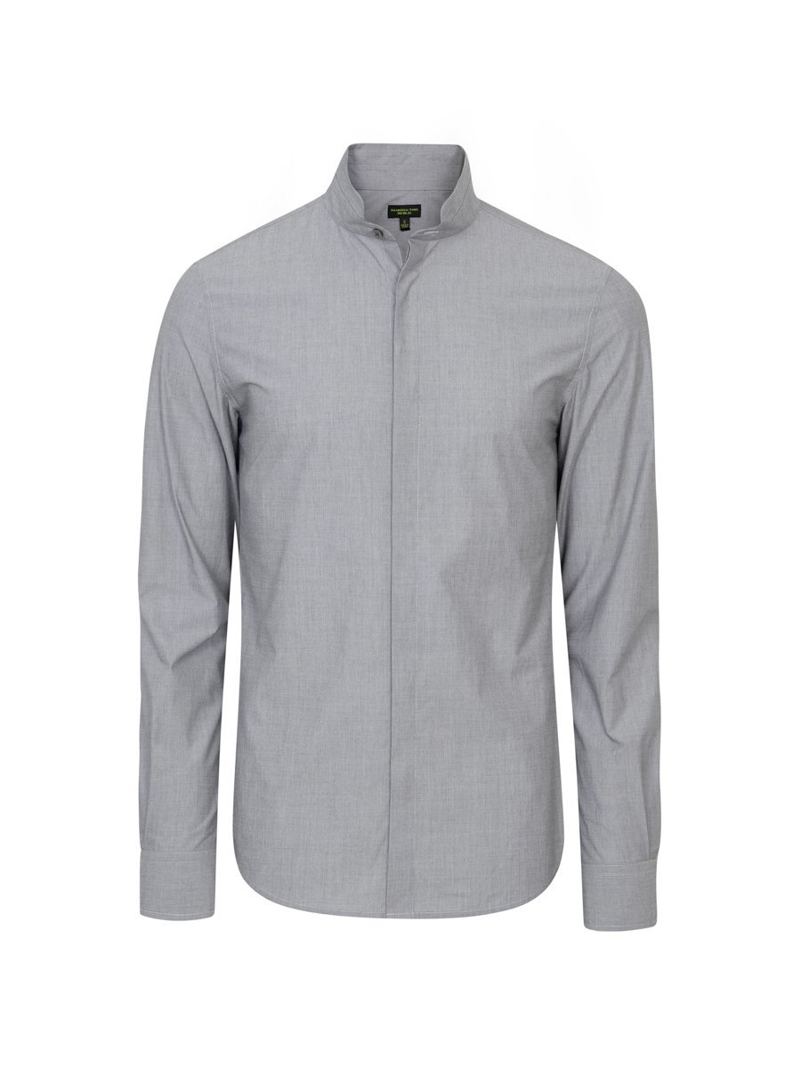Cotton Mandarin Tip Collar Shirt (Slim Fit)