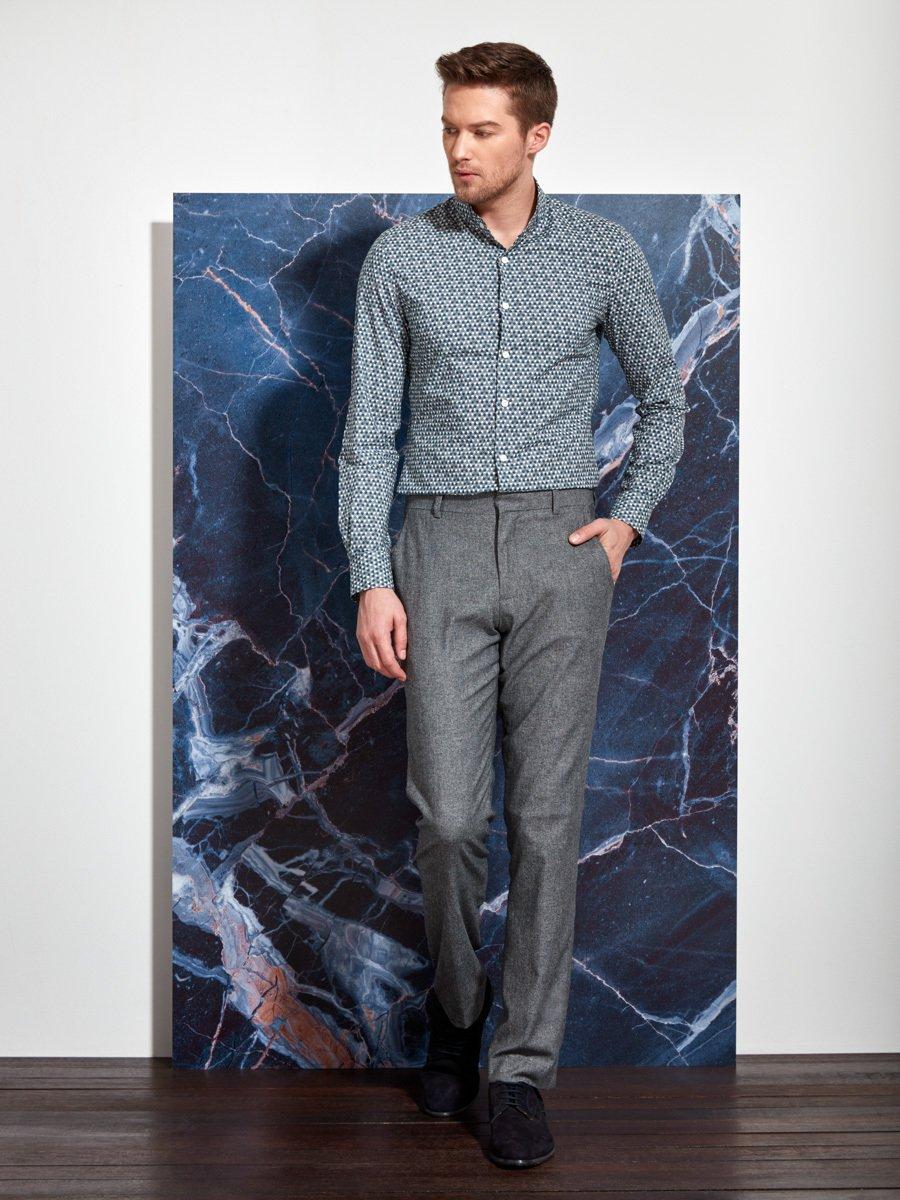 Cotton Microprint Stand Collar Shirt (Slim Fit)