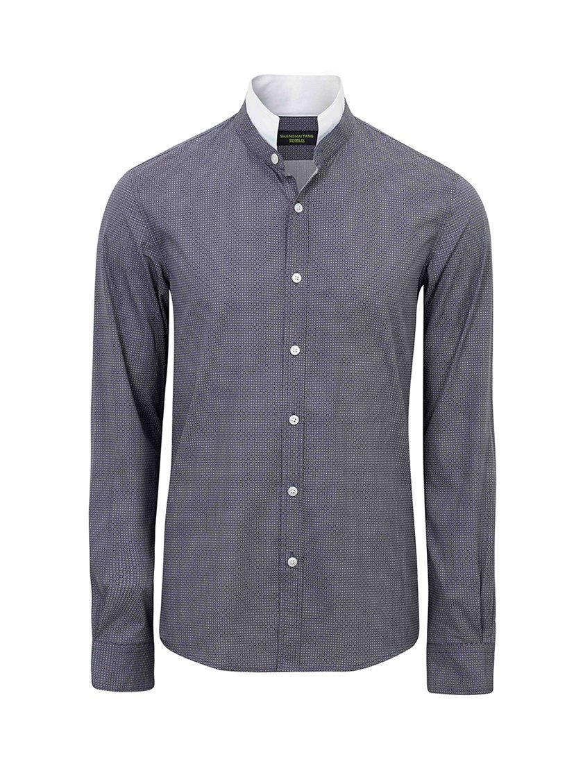 Double Stand Collar Cotton Print Shirt (Slim Fit)