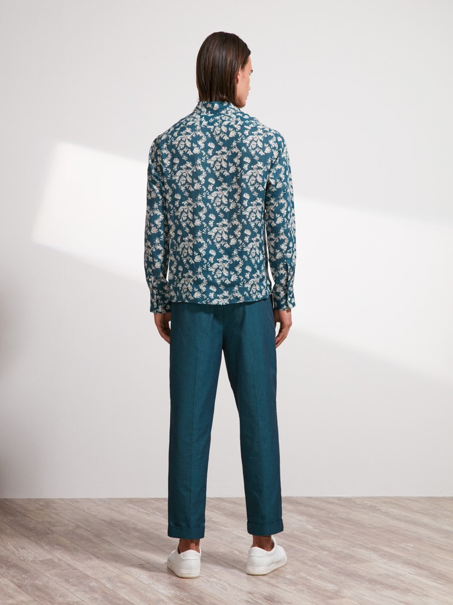 Ramie Ginkgo Printed Officer Collar Shirt