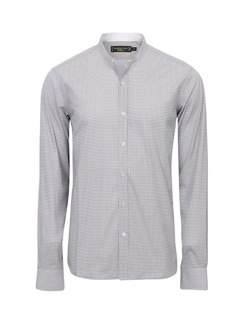 Printed Mini Mandarin Collar Cotton Shirt (Slim Fit)
