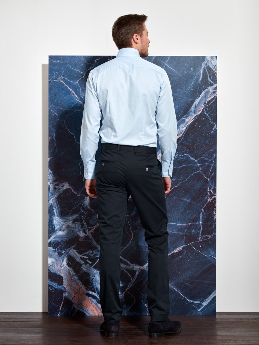 Cotton Twill Tip Collar Shirt (Slim Fit)