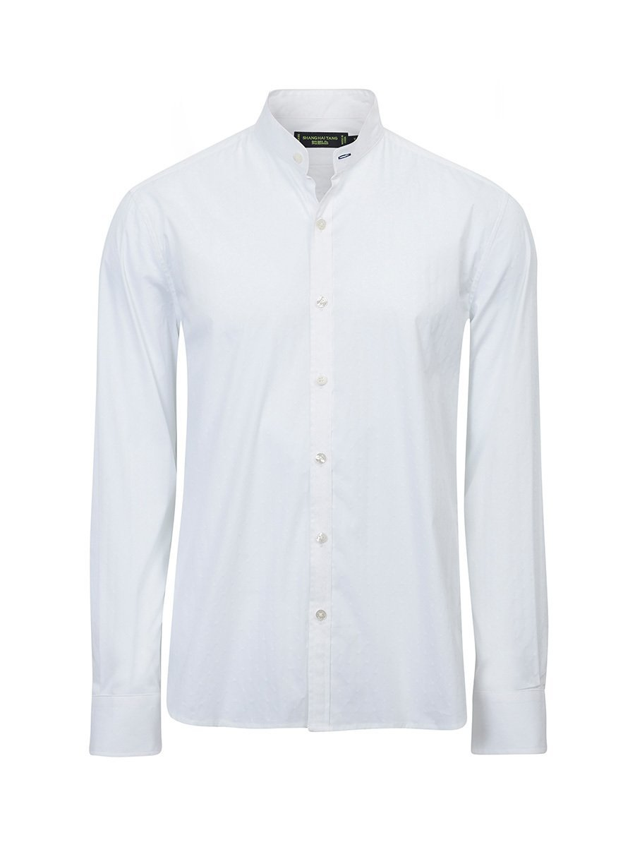 Cotton Jacquard Single Button Collar Shirt