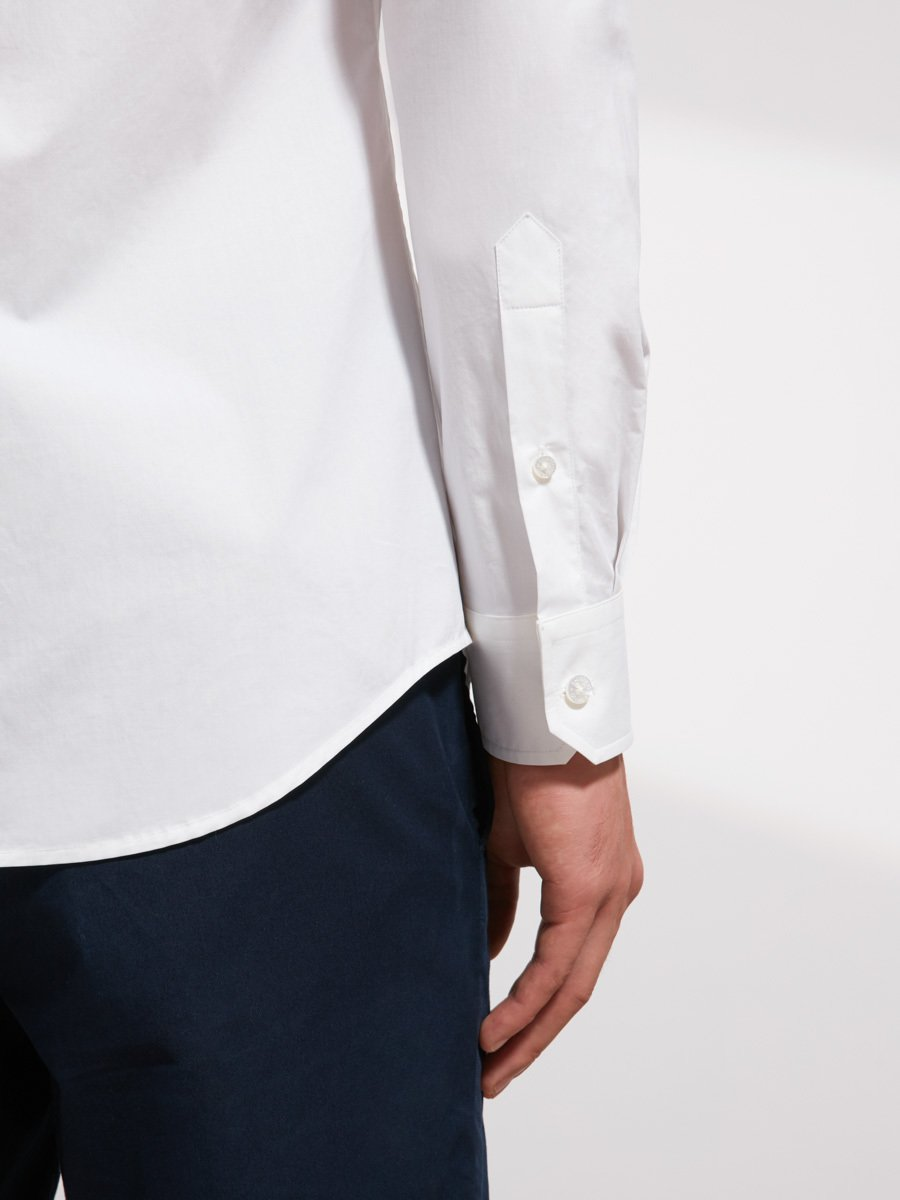 Cotton Mandarin Collar Shirt