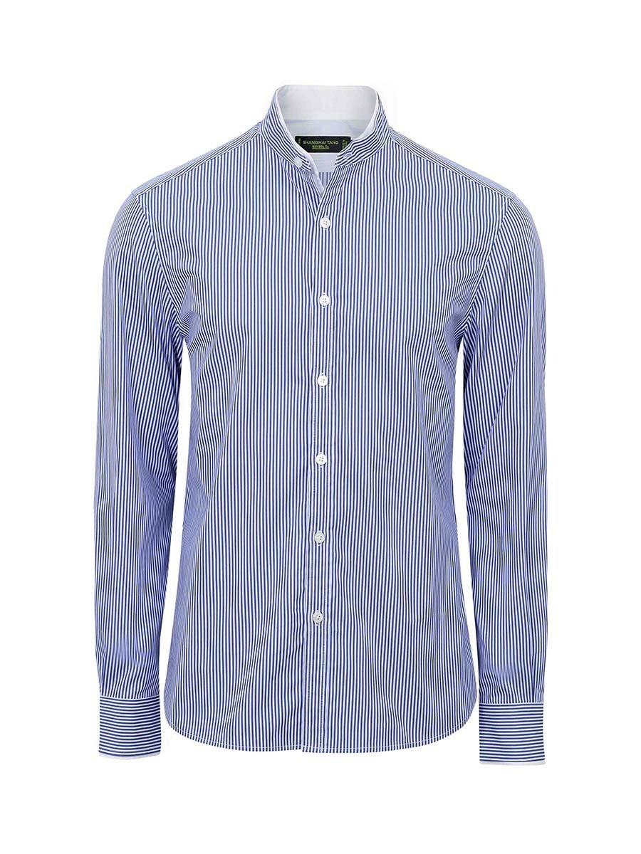 Double Collar Striped Cotton Shirt