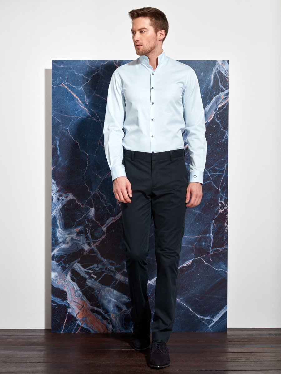 Cotton Twill Officer Collar Shirt Slim Fit