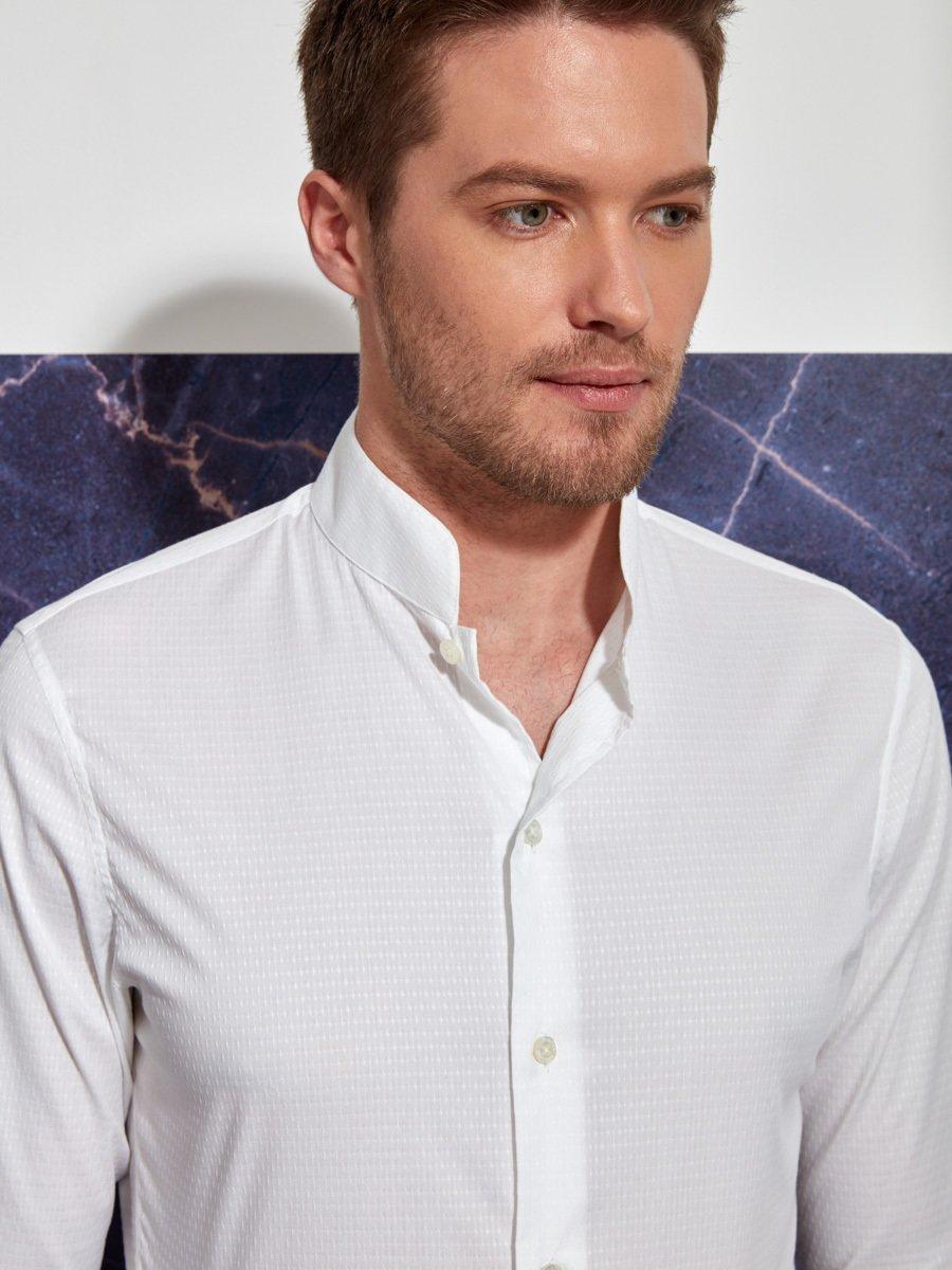 Cotton Dobby Mandarin Collar Shirt Slim Fit