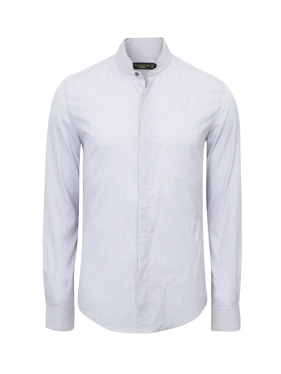 Cotton Mandarin Tip Collar Striped Shirt (Slim Fit)