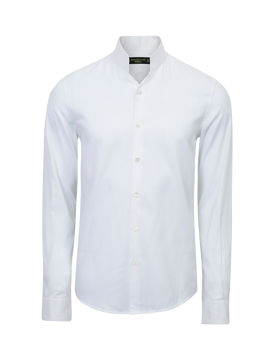 Cotton Pique Officer Collar Shirt (Slim Fit)