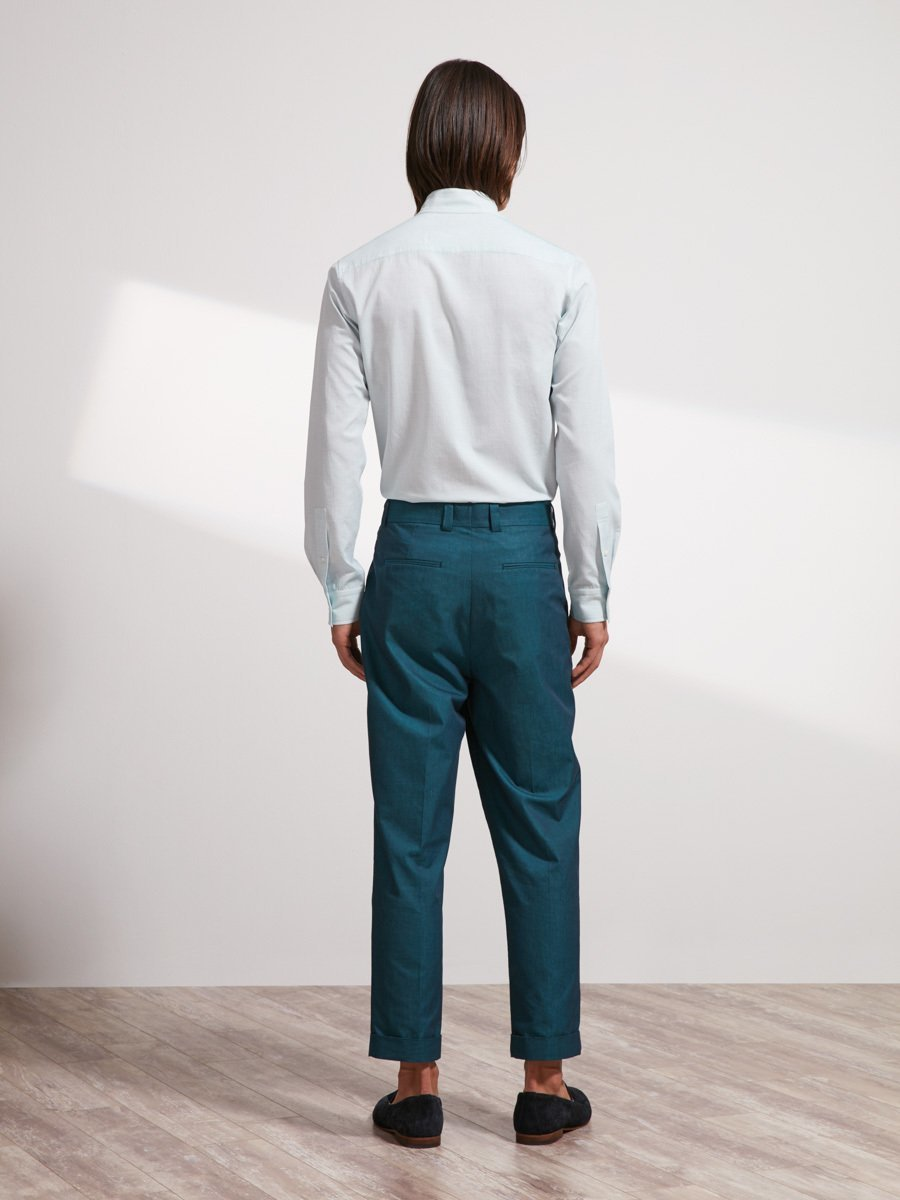 Cotton Modern Mandarin Collar Shirt (Slim Fit)