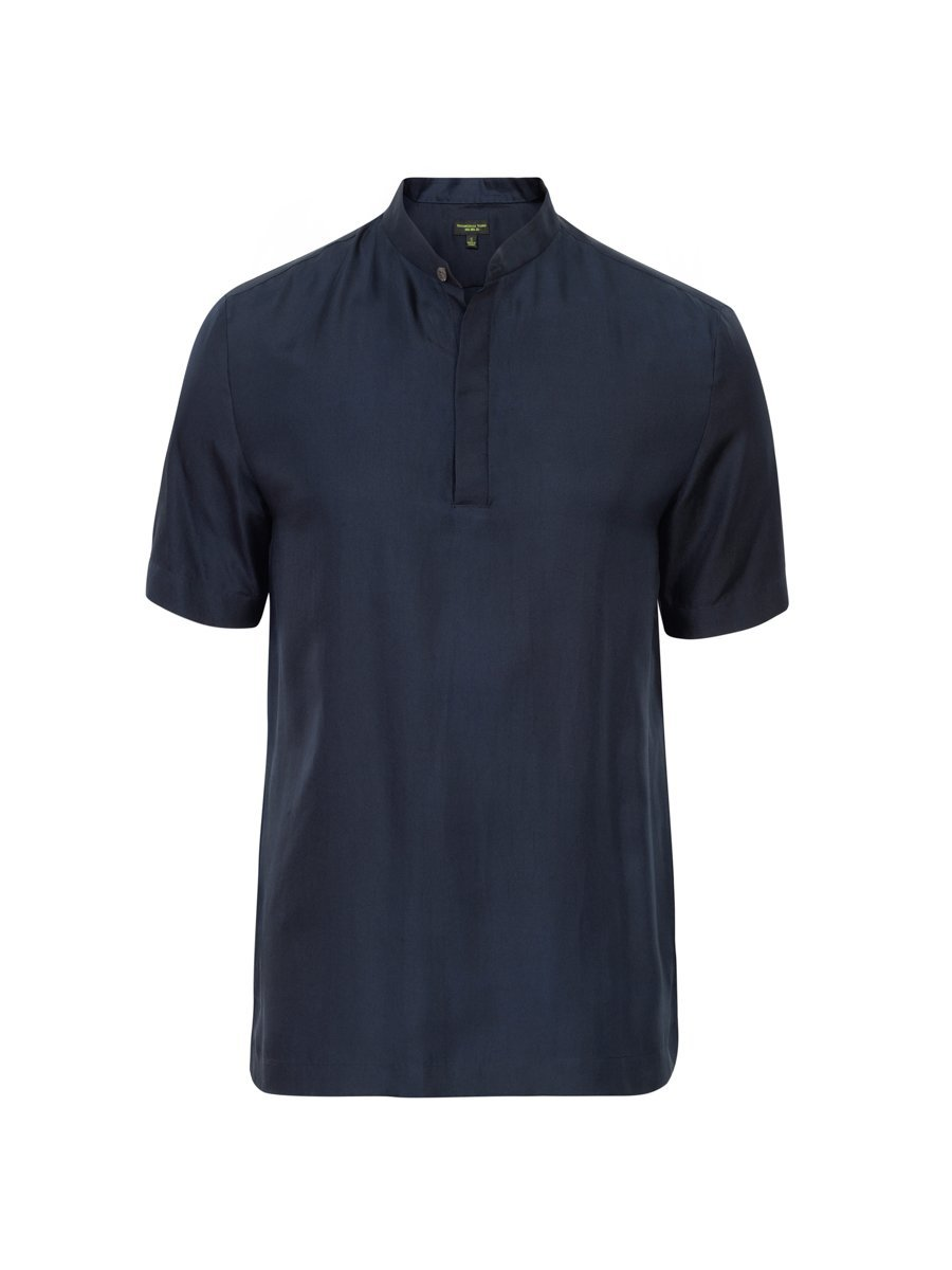 Silk Twill Polo Shirt (Slim Fit)