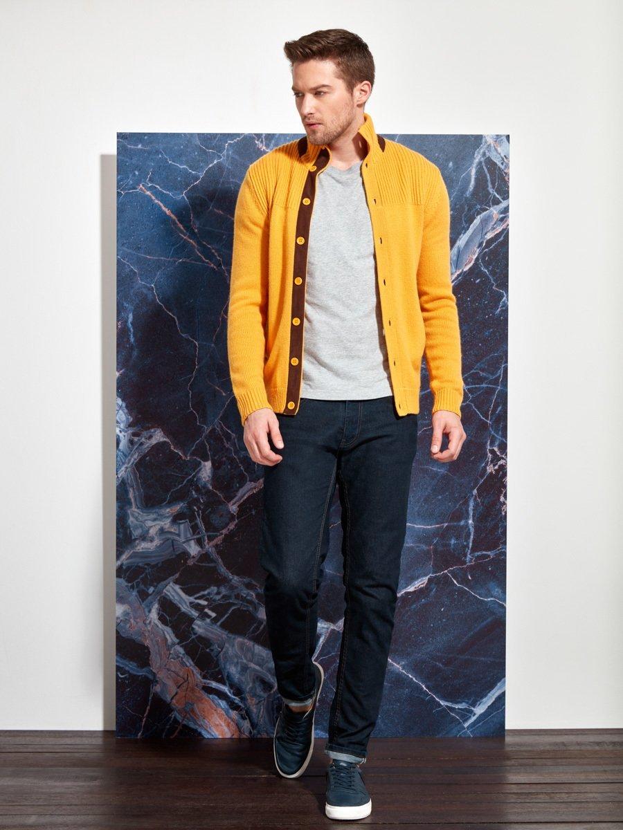 Cashmere-Silk Cardigan with Leather Trim