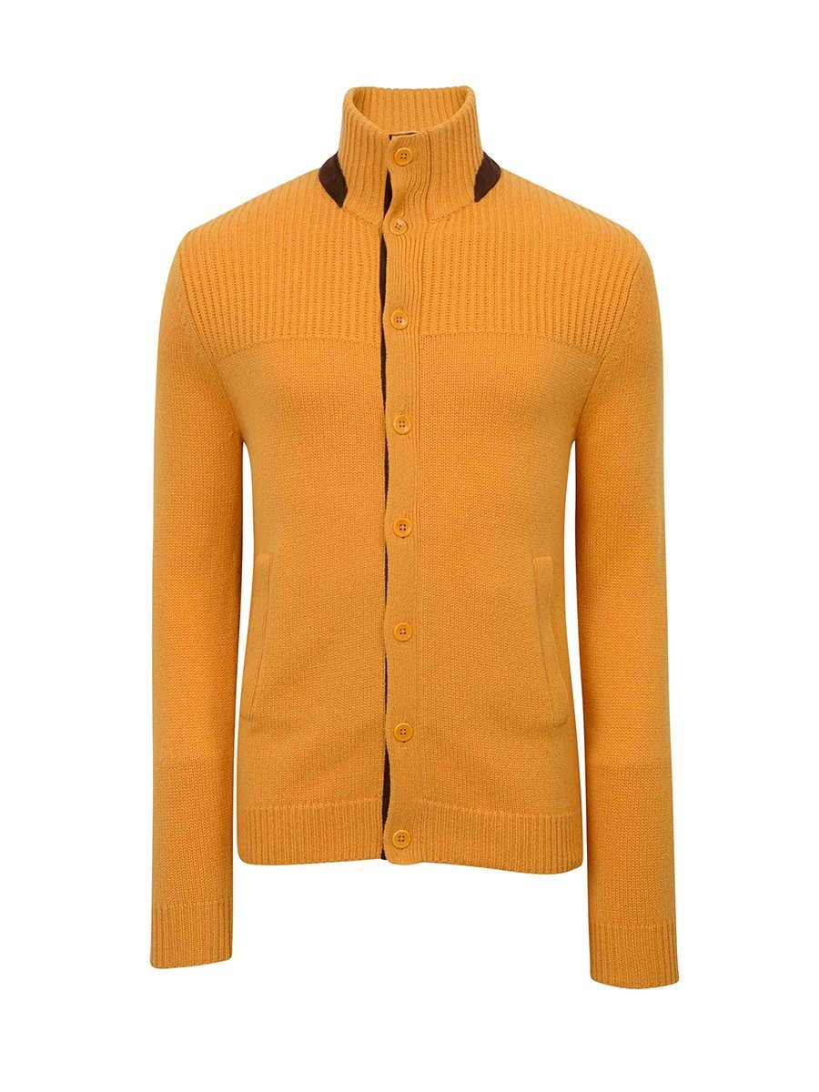 Cashmere-Silk Cardigan with Leather Trim