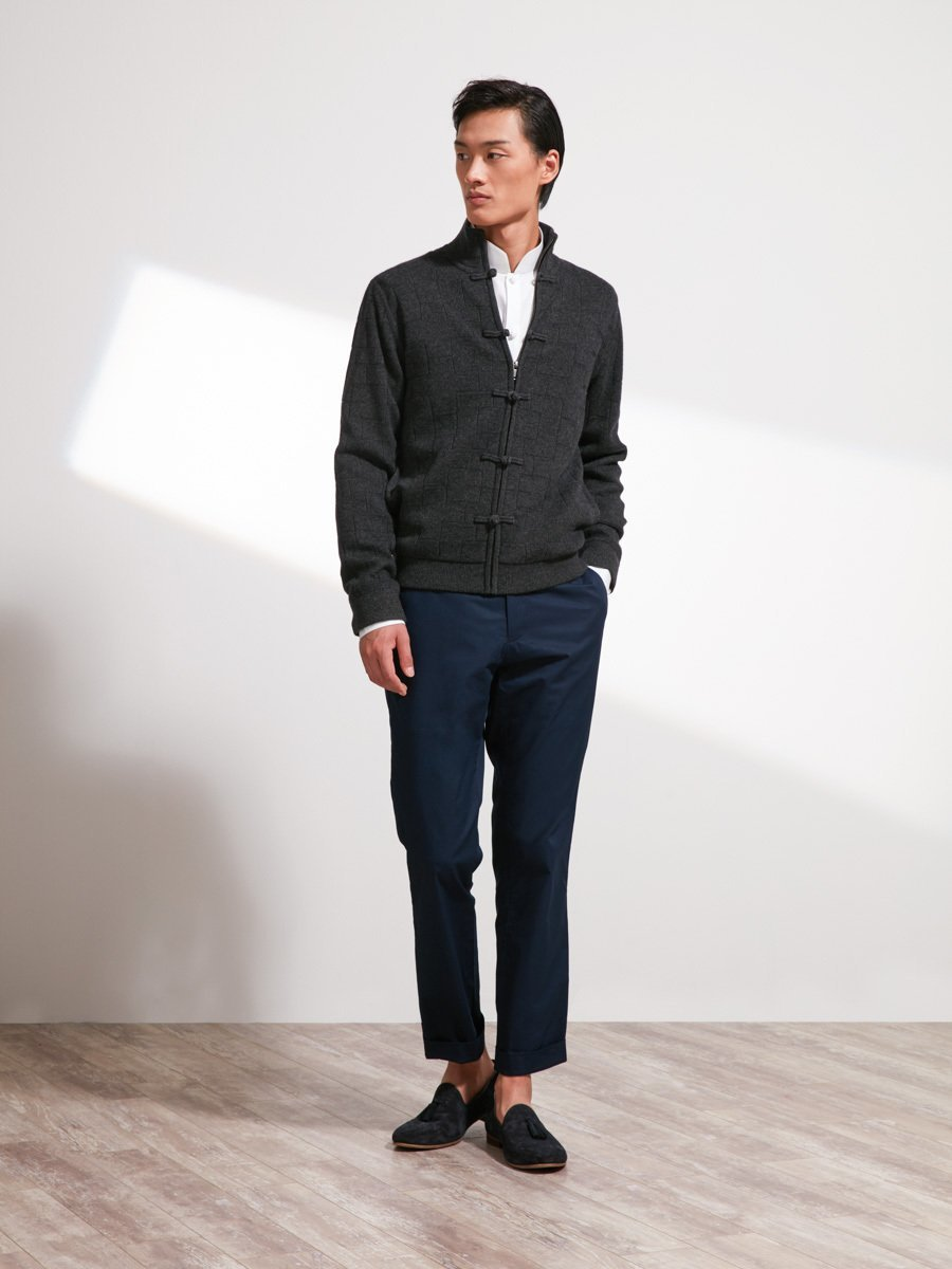 Wool-Cashmere Lattice Cardigan with Silk lining