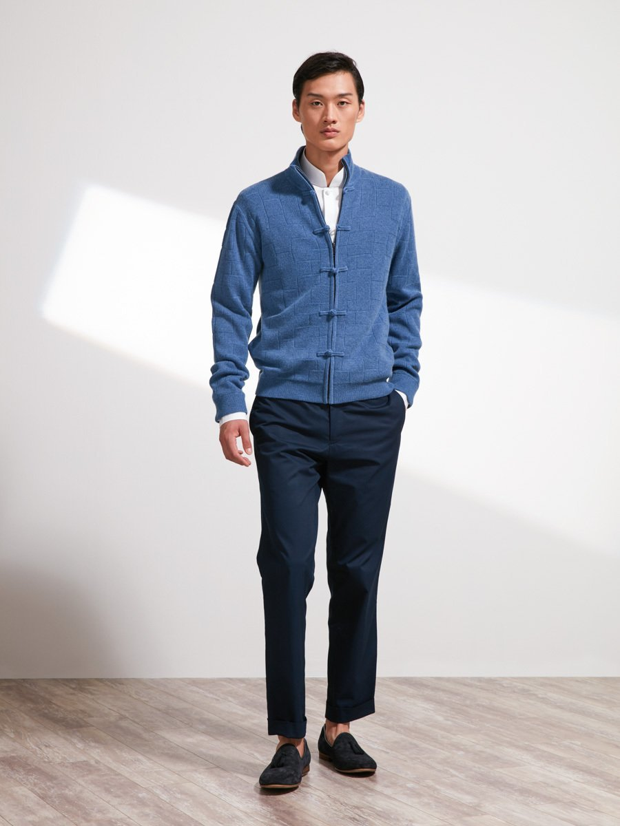 Wool-Cashmere Lattice Cardigan with Silk lining