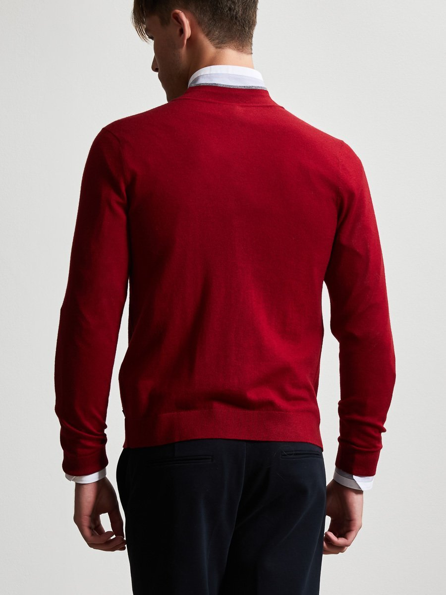 Merino Wool Cardigan with Contrast Tip