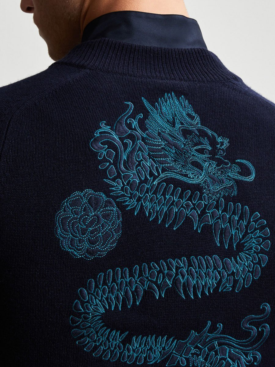 Cashmere Silk Cardigan with Dragon Embroidery
