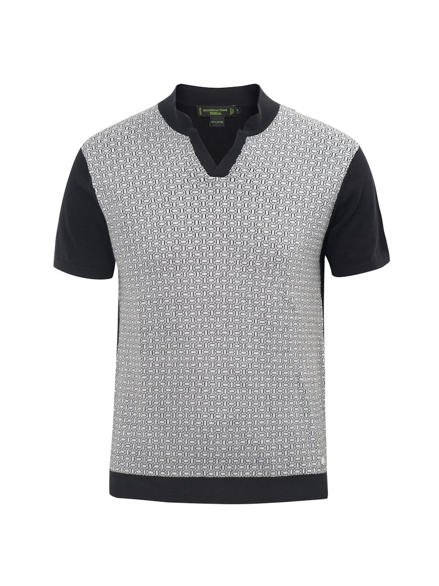Lattice Double Bed Jacquard Cotton Knitted Polo