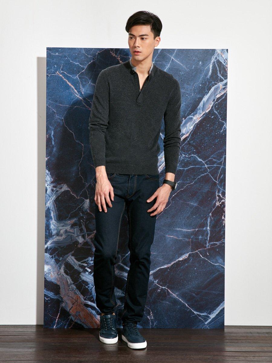 Cashmere-Silk Double Collar Sweater