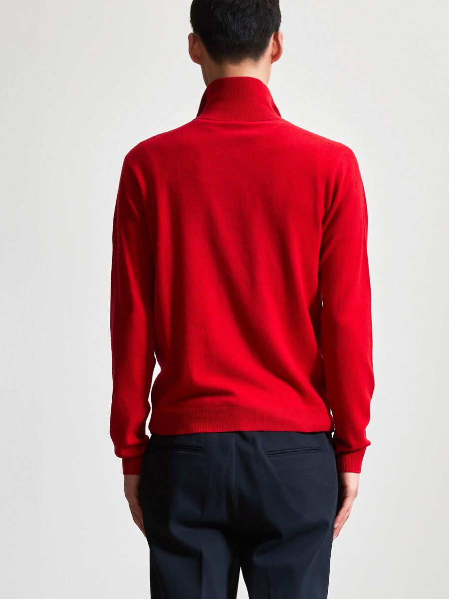 Cashmere-Silk Zip Suede Placket Sweater