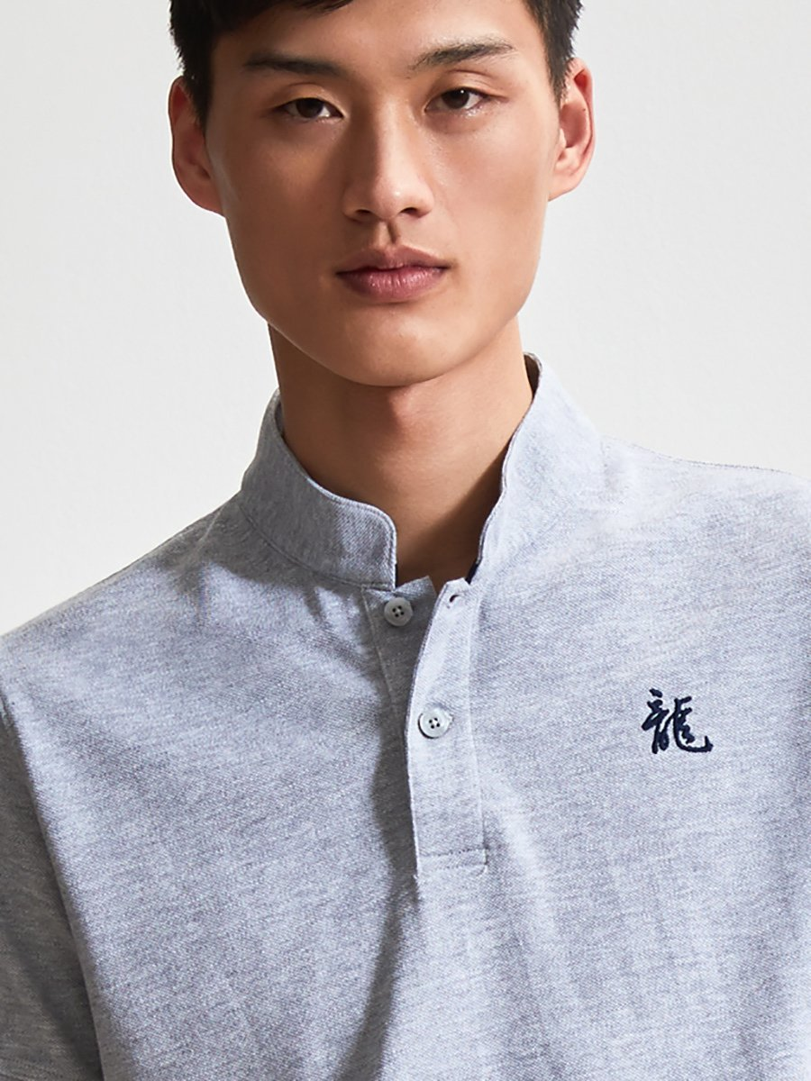 Cotton Dragon Embroidery Piqué Polo Shirt