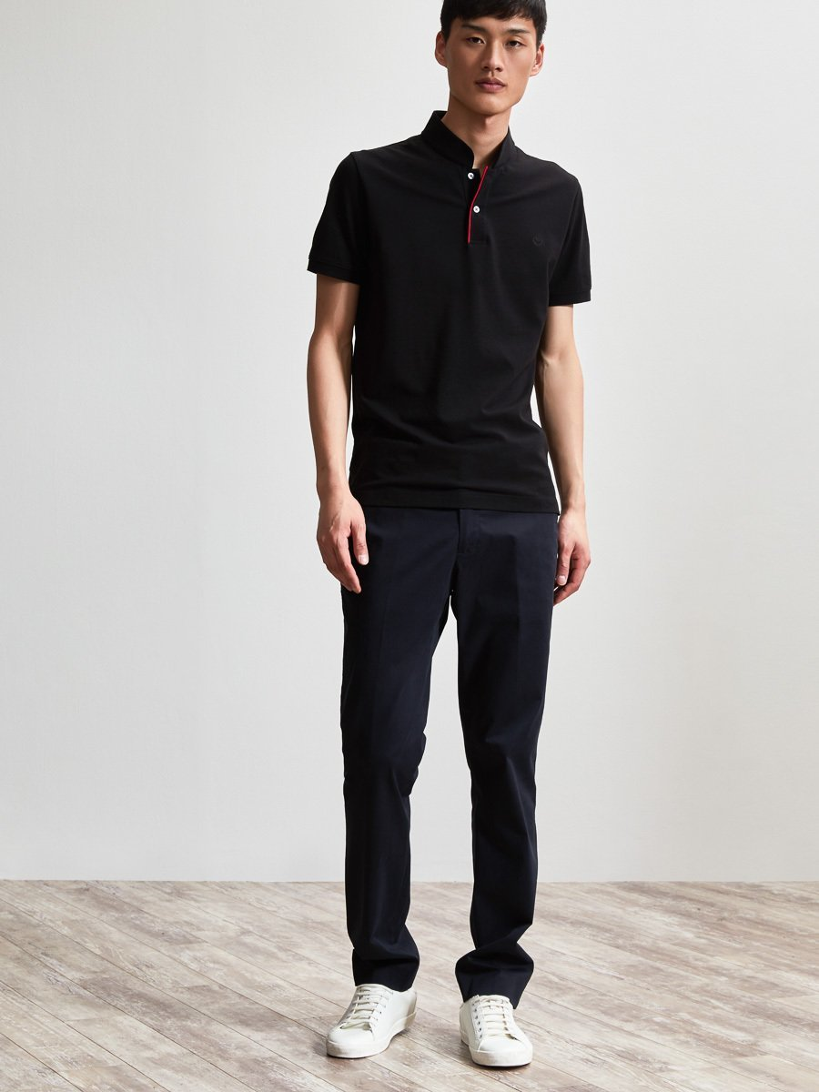 Cotton Contrast Piping Fine Piqué Polo Shirt