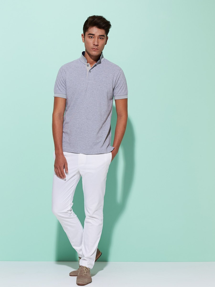 Stand Up Collar Cotton Pique Polo (Slim Fit)