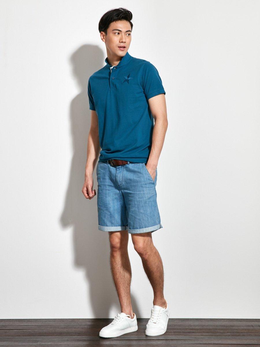 Star Embroidery Cotton Piqué Polo Shirt