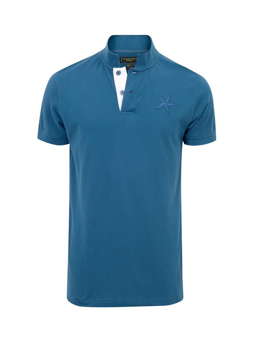 Star Embroidery Cotton Piqué Polo Shirt
