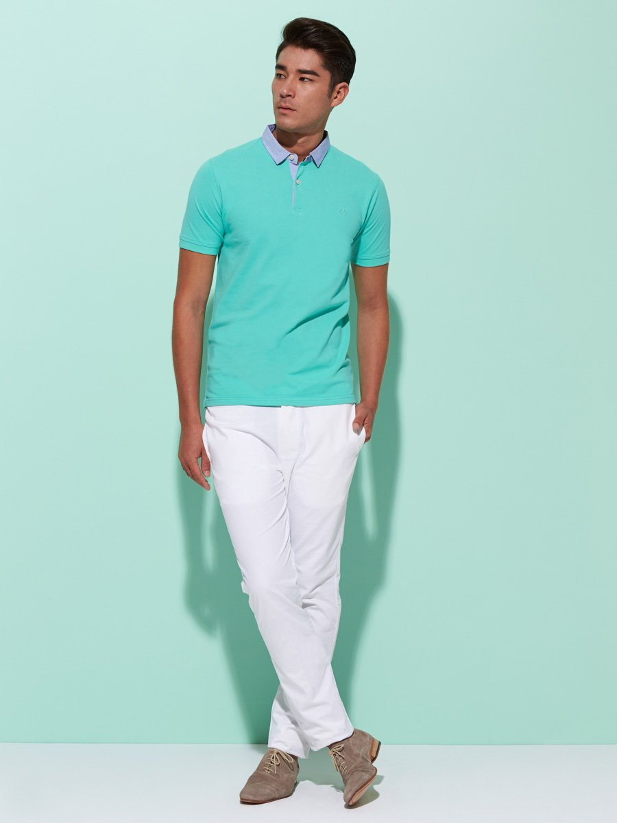 Chambray Collar Pique Polo (Slim Fit)