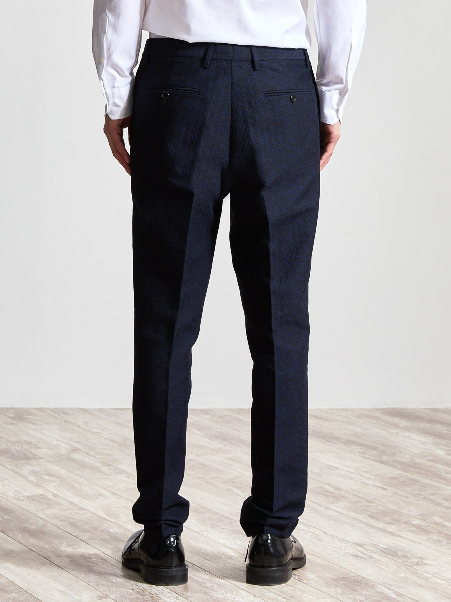 Cotton Wool Lattice Jacquard Suit Pants