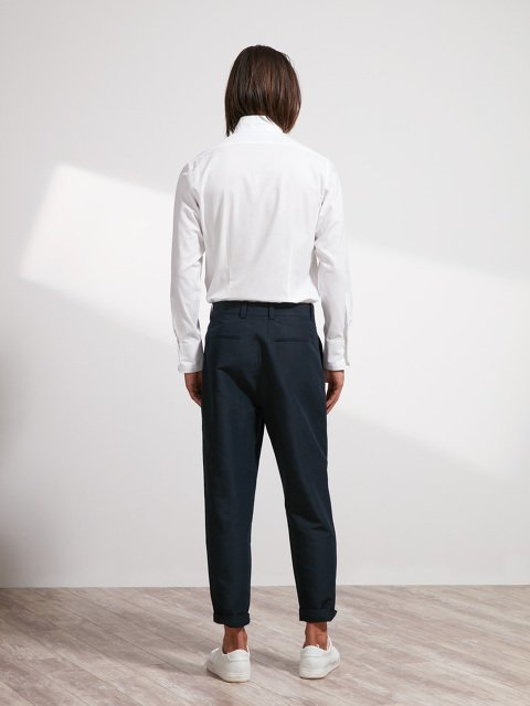 Linen-Cotton One Pleat Pants