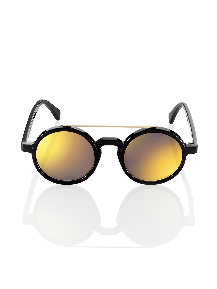 Retro Chinese Round Sunglasses Black - Gold
