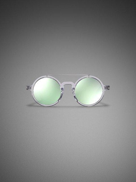 Retro Chinese Round Sunglasses Clear - Aqua