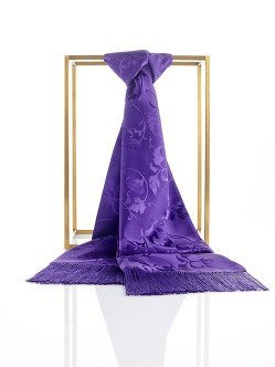 Silk Leaves Scarf with Tassel