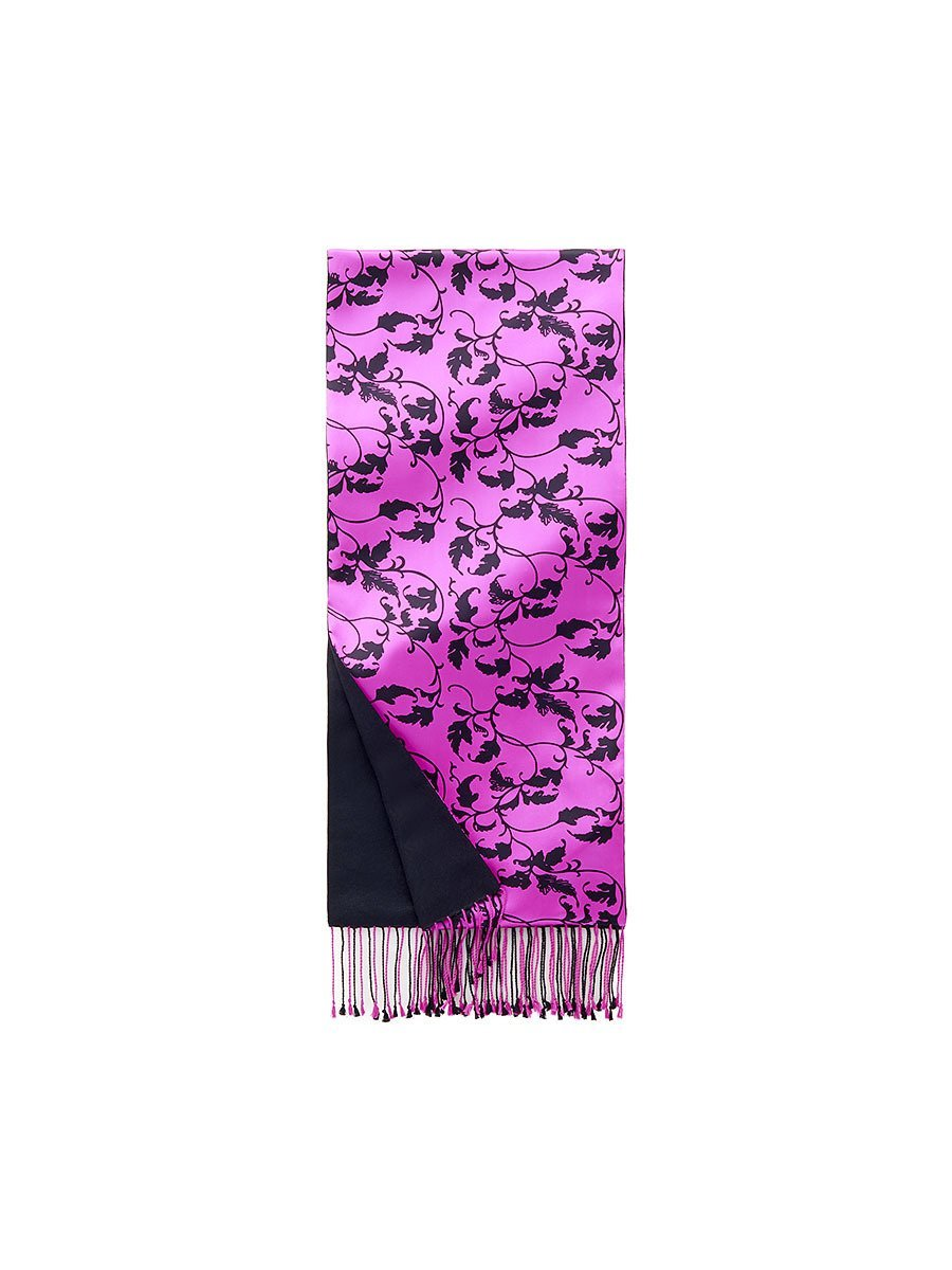 Silk Pashmina Scarf with Leaves Pattern
