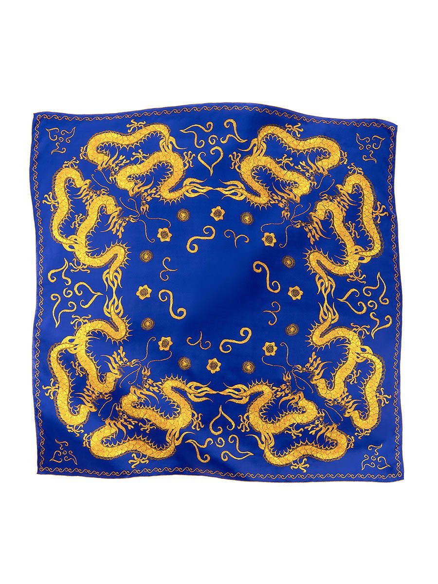 Dragon Silk Satin Chiffon Printed Square Scarf