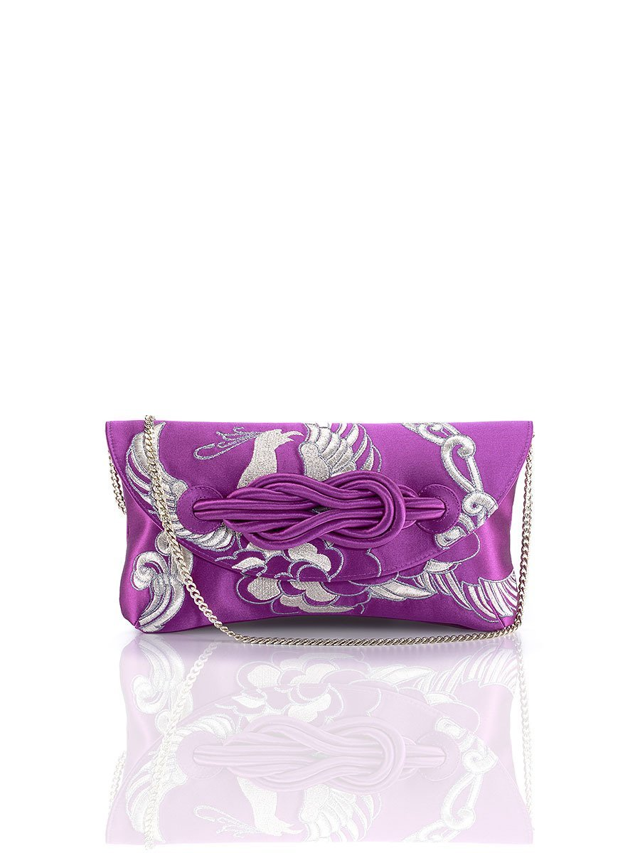 Phoenix Embroidery Silk Knot Clutch
