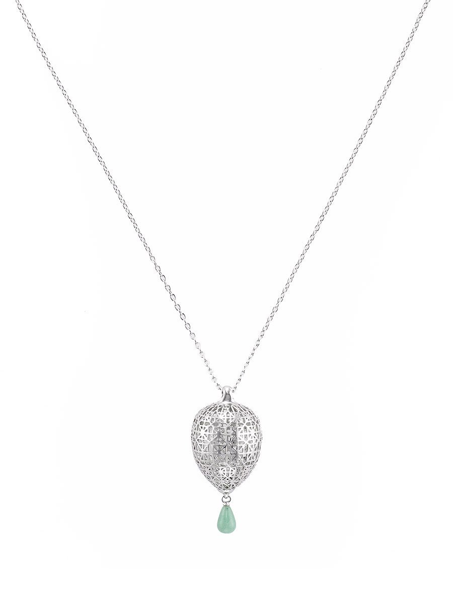 Jade Inpsired Lattice Pendant Necklace