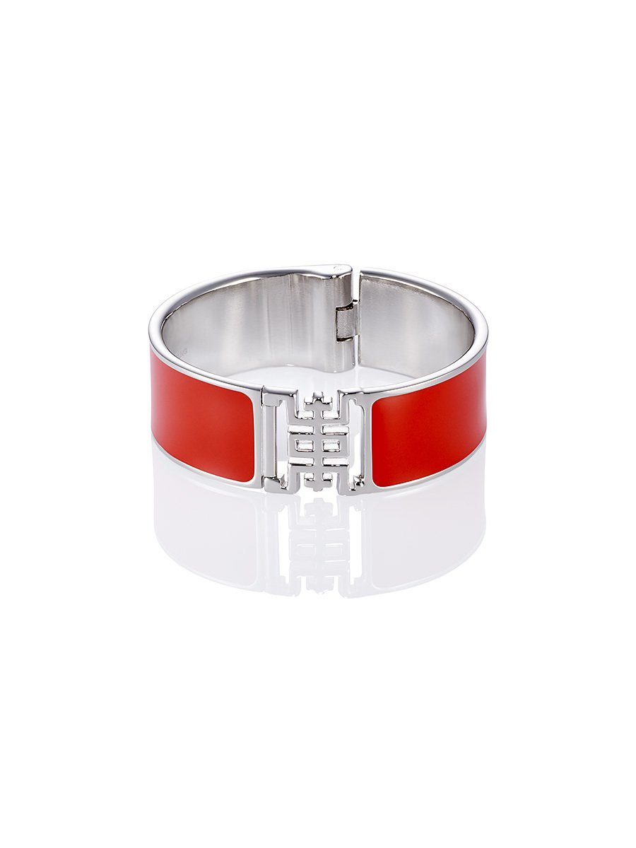 Shou Enamel Silver Bangle