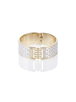 Shou Bangle in Silver Snake-Print Leather