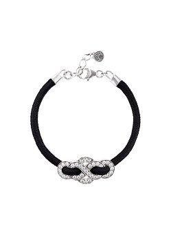 Silver Crystal Eternity Knot Bracelet