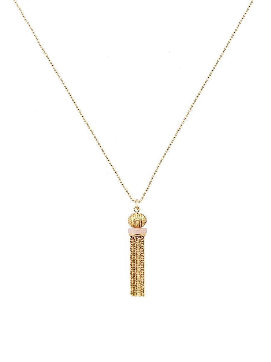 Jade Inspired Tassel Long Pendant Necklace