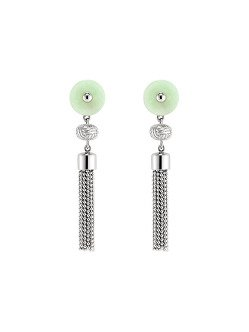 Jade Inspired Tassel Long Earrings